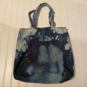 Tie Dye Vintage Denim Tote Bag Purse Hippy Retro